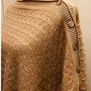 Vince cashmere cable knit poncho sweater shawl